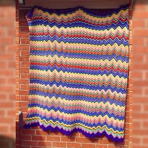 Vintage Colorful Zig Zag Afghan Blanket 63x62